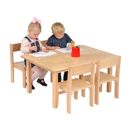 Solid Beech Rec Table & 1 Pack of 4-21cm Beech Stacking Chairs