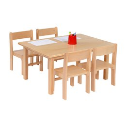 Solid Beech Rec Table & 1 Pack of 4-26cm Beech Stacking Chairs