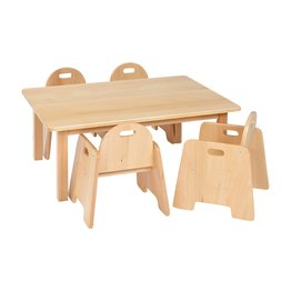 Solid Beech Rec Table & 2 packs of 2–14cm Beech Infant Chairs