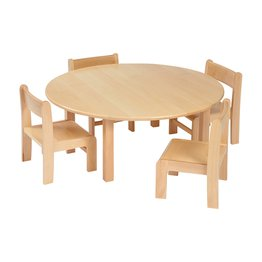 Solid Beech Circular Table & 1 pack of 4–21cm Beech Stacking Chairs