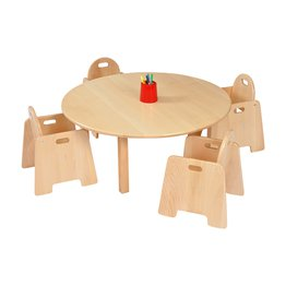 Solid Beech Circ Table & 2 packs of 2–14cm Beech Infant Chairs