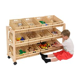 Single 12 Wicker Basket Classroom Tidy