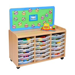 18 Shallow Tray Storage Unit with Cork Panel
