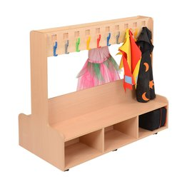 Beech Dressing Up Unit With Fixed Coat Hooks