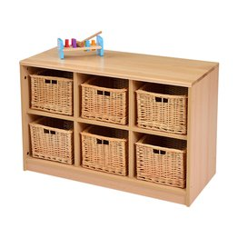 RS 6 Tray Storage Unit With Wicker Baskets