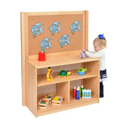 RS Open Bookcase with Inset Panel and Cork Divider