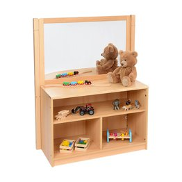 RS Open Bookcase with Solid Back and Drywipe/Mirror Divider