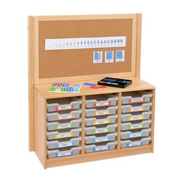 RS 3 Bay A4 18 Shallow Clear Tray Unit and Cork/Drywipe Divider