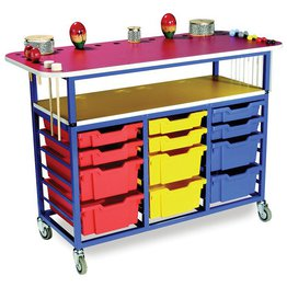 Multi Purpose Music Trolley with 12 Variety Trays