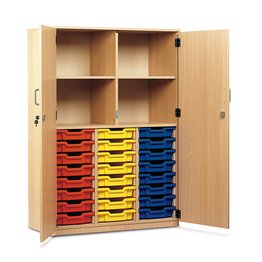 24 Shallow Tray Cupboard With Locking Doors