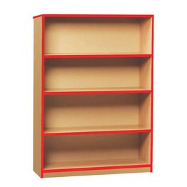Coloured Edge Bookcase 1250H (Red)